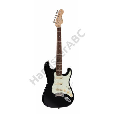 SOUNDSATION RIDER-RETRO-R BK - Double cutaway electric guitar with 3 single coils and vintage tuners (Wilkinson equipped, eco-rosewood fretboard)